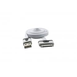 USB Cablu Flat compatibil cu iPHONE 4 Alb