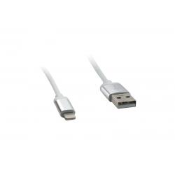 USB Cablu Metal compatibil cu iPHONE 5/6 Alb