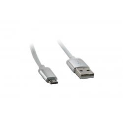 USB Cablu Metal Micro USB Alb