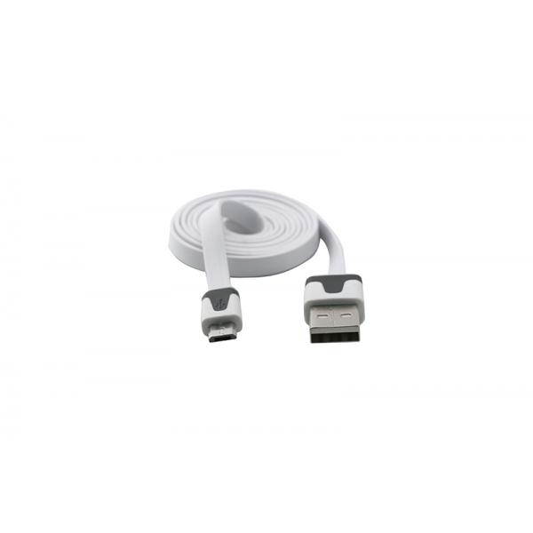 USB Cablu Flat Micro USB Alb 0